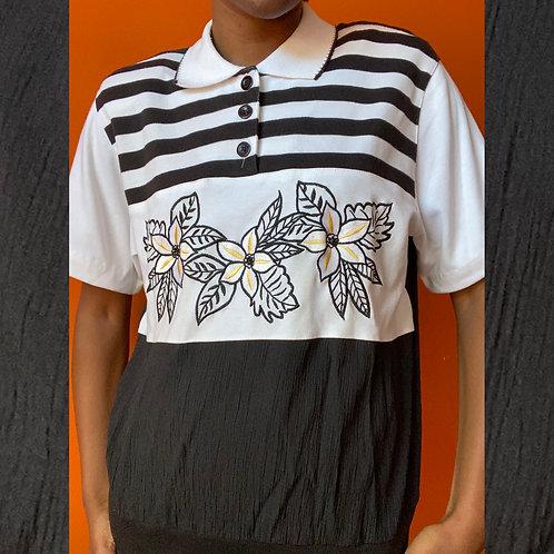 Retro Flower & Stripe Shirt