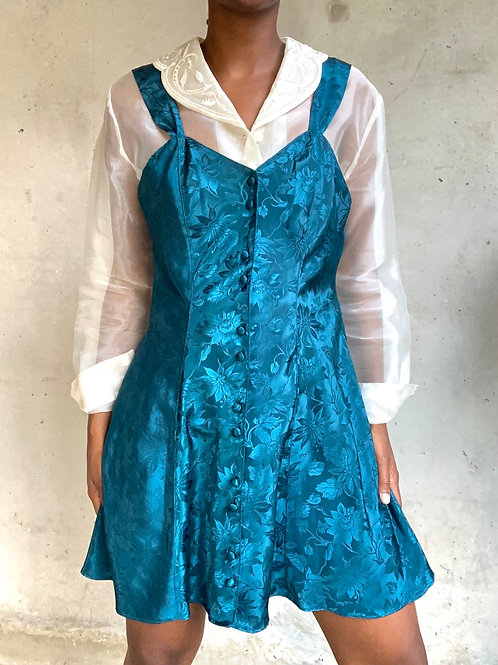 Teal Floral Print Satin Dress