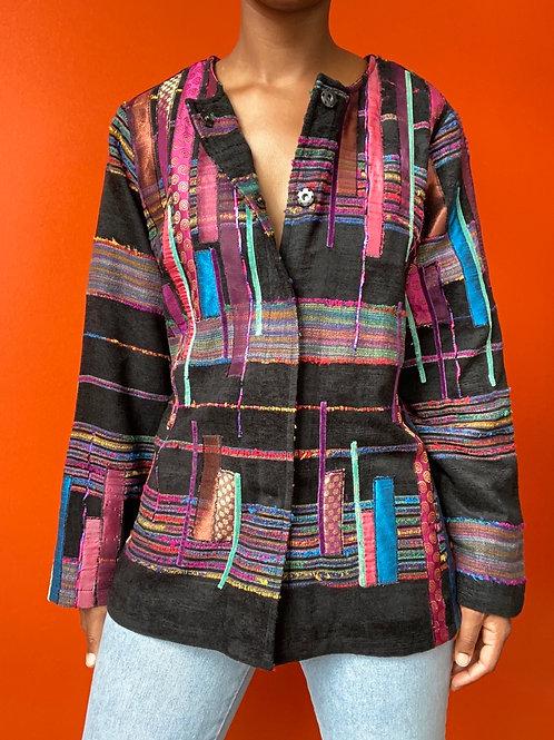 Colorful Stitch Print Jacket