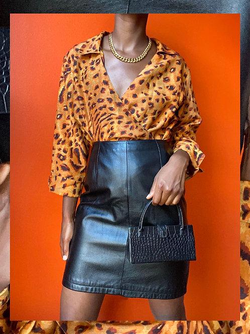 Cheetah Print Wrap Blouse