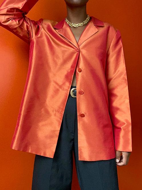 Orange Silk Taffeta Blazer