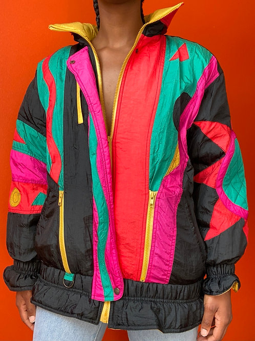90s Colorful Abstract Print Coat