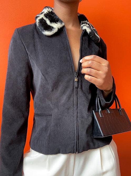 Animal Print Faux Fur Collar Top