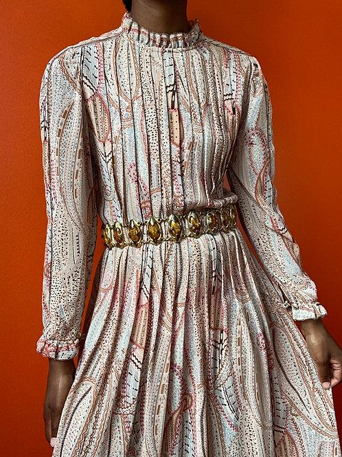 Paisley Print Pleated Dress