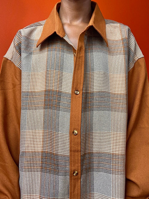 Plaid Patch Elbow Leisure Shirts