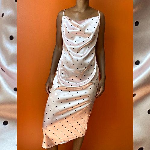 Pink Polka dot Satin Dress