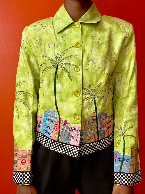 Boardwalk Embroidered Jacket - Lime green