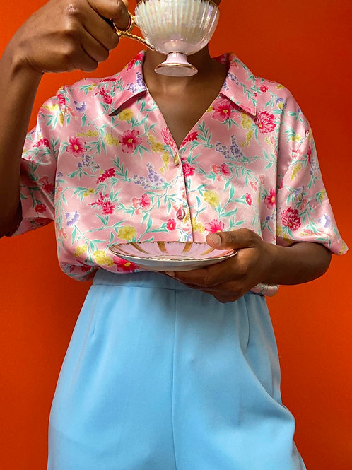 Pink Satin Floral Blouse