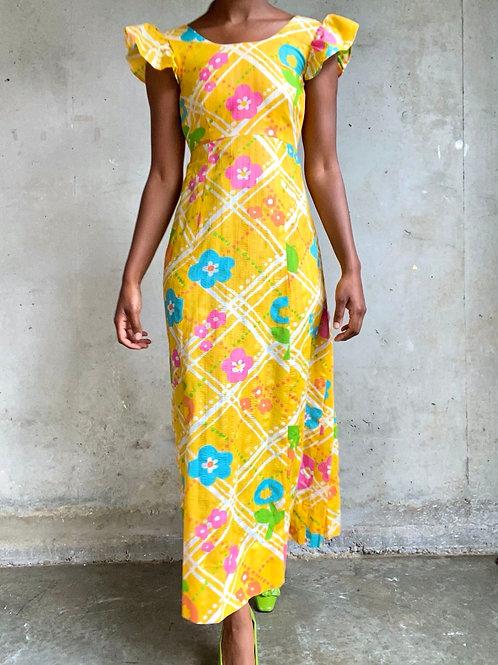 60/70s Floral Print Dress