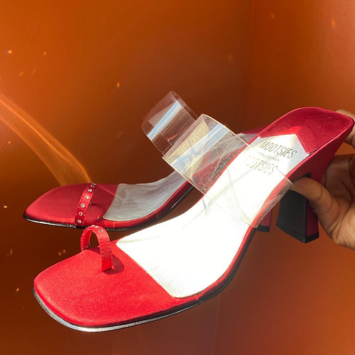 Clear Red Rinestone Sandals