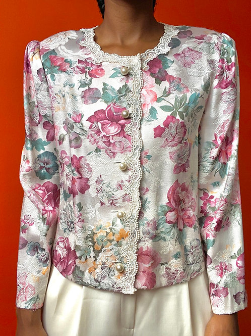 Floral Print Pearl Button Jacket