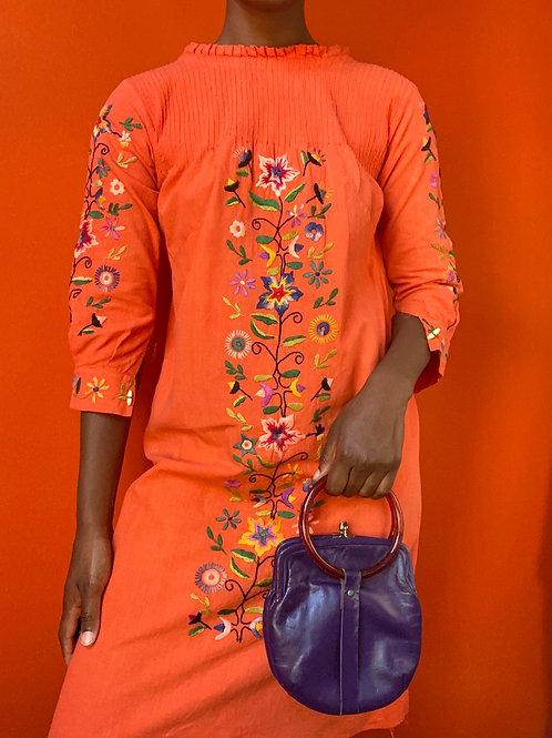 70s Orange Floral Embroidered Dress