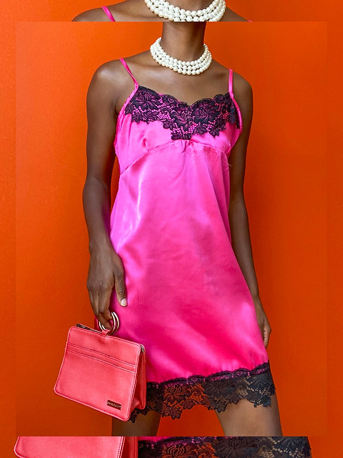 Pink & Black Lace Slip Dress