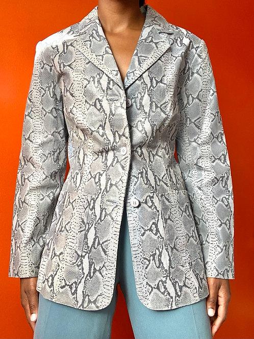 Grey Snake Skin Leather Jacket