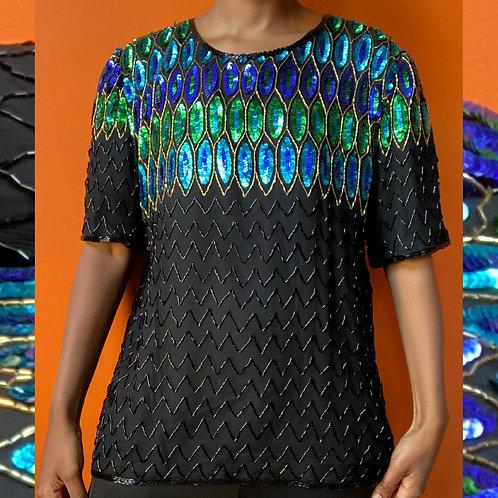 Sequin peacock shirt 🦚 100% Silk