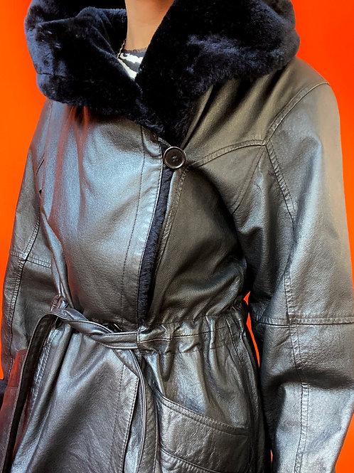 Black Faux Fur Trim Coat