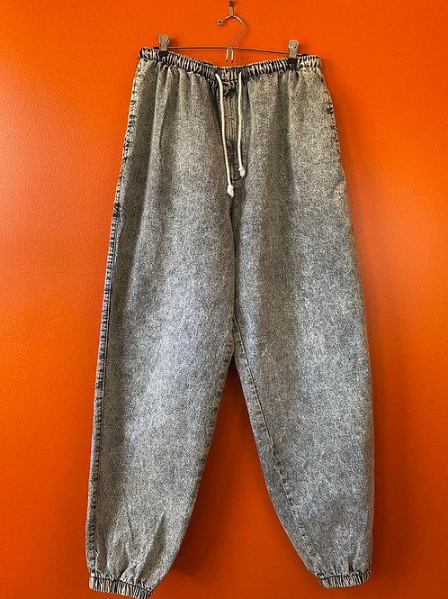 Faded Drawstring Waist Jeans