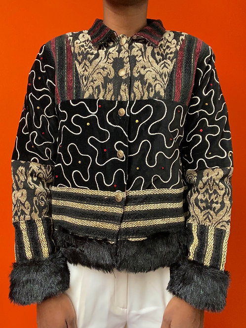 Faux Fur Trim Patchwork Jacket
