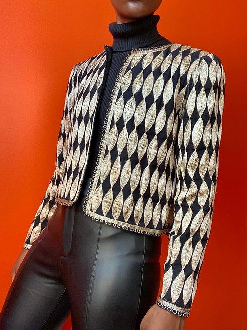 Black & Gold Cropped Jacket