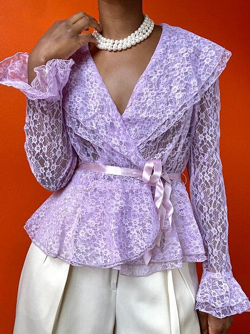 Lilac Lace Ribbon Tie Blouse