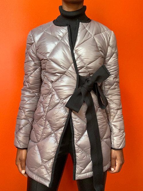 Grey Wrap Belt Quilt Coat