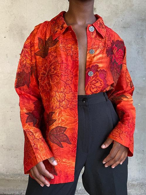 Orange Floral Embroidered Top