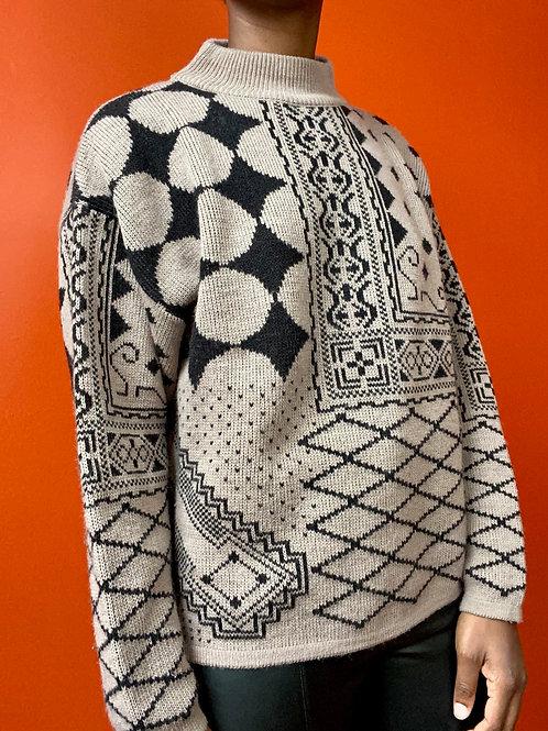 Multi Print Mock Neck Sweater