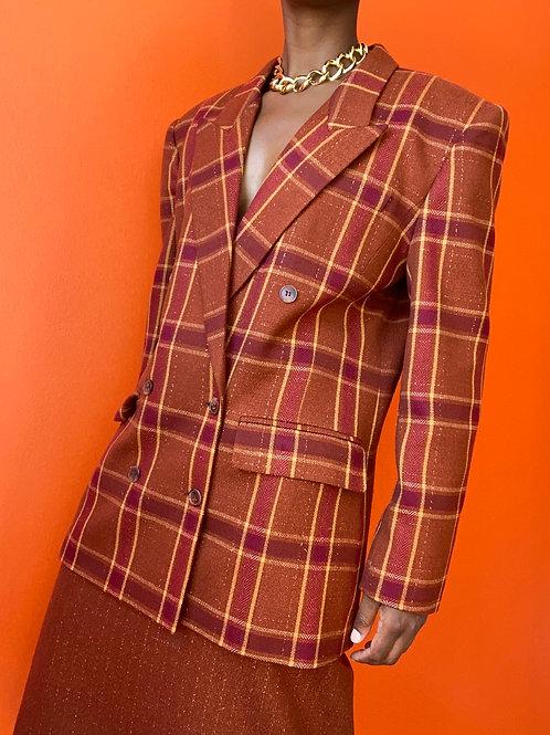 Orange Plaid Skirt Suit