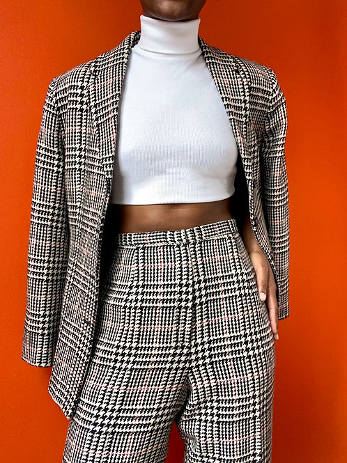 Houndstooth Plaid Wool Suit