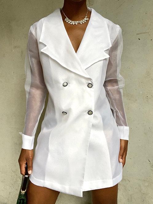 White Sheer Sleeve Organza Jacket