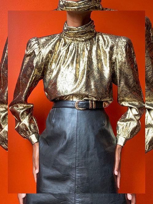 Gold Turtleneck Blouse