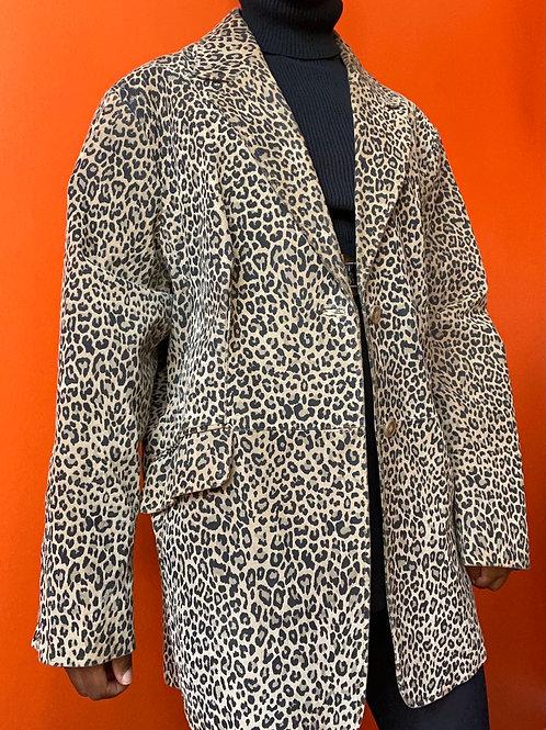 Leather Cheetah Print Coat