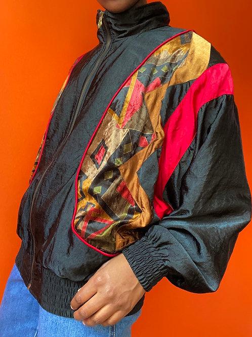 Nylon Velvet Trim Windbreaker Jacket