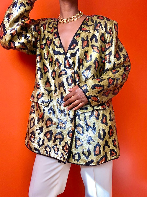 Cheetah Print Silk Sequin Blazer