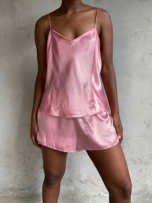 Pink Satin Short Set