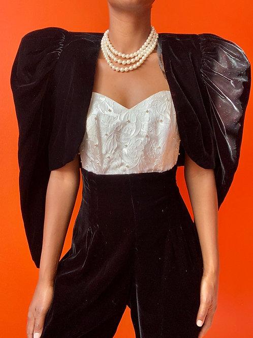 Velvet & Pearl Bodysuit w/Cropped Jacket