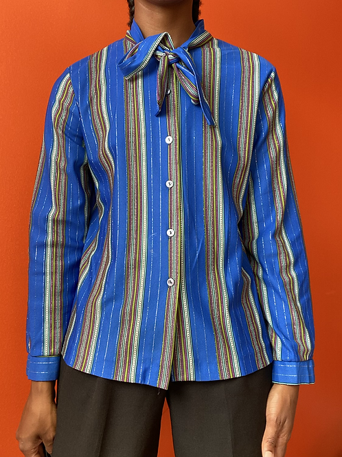 Blue Striped Tie Neck Button Down