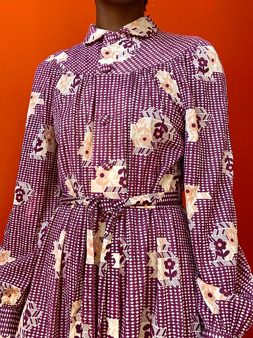 70s Floral Print Polyester Dress