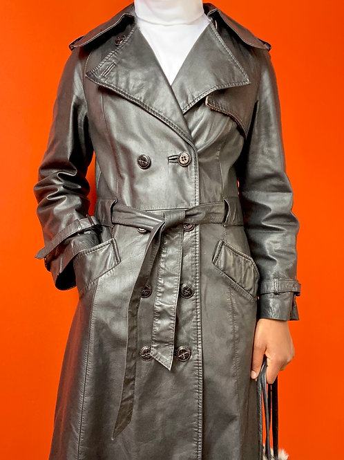 Black Leather Double Breasted Trench Coat