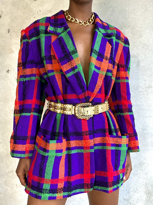 Purple Plaid Multicolored Blazer