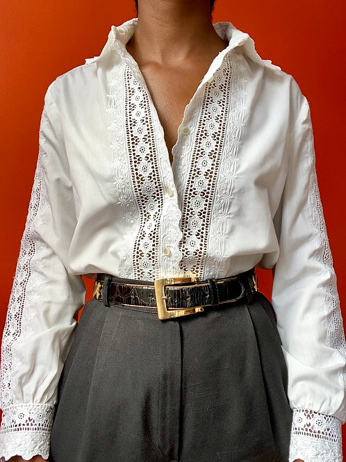 White Embroidered Lace Button Down