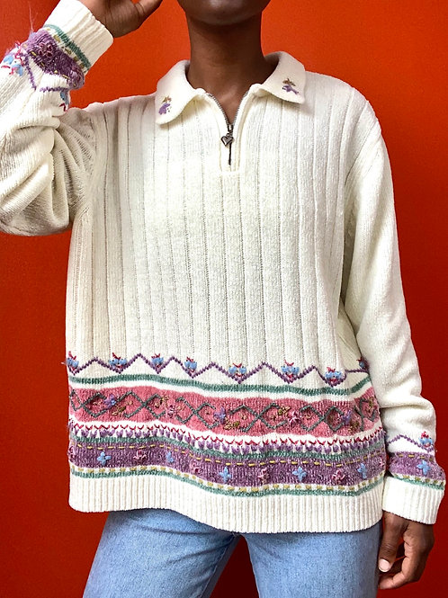 Knit Collared Floral Trim sweater