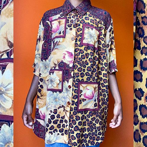 Cheetah & Flower Print Top