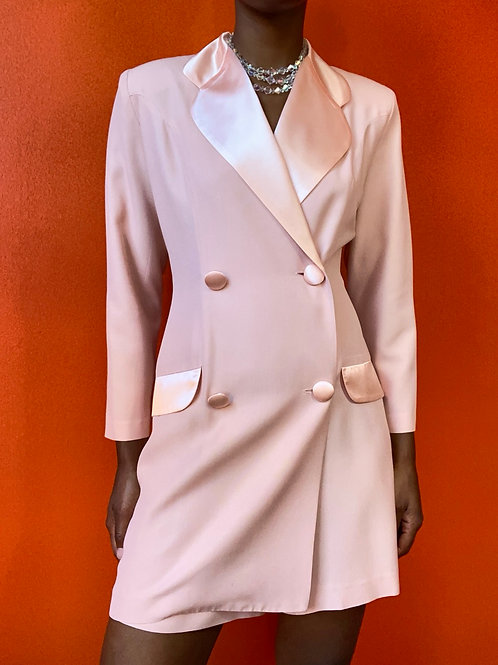 Pink Blazer Romper w/ Cutout Back