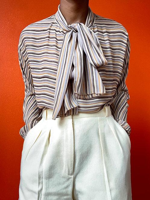 Tan Striped Necktie Blouse
