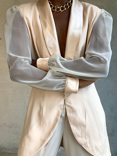 Sheer Sleeve Cream Blazer