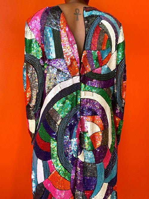 Colorful Sequin Color Block Dress