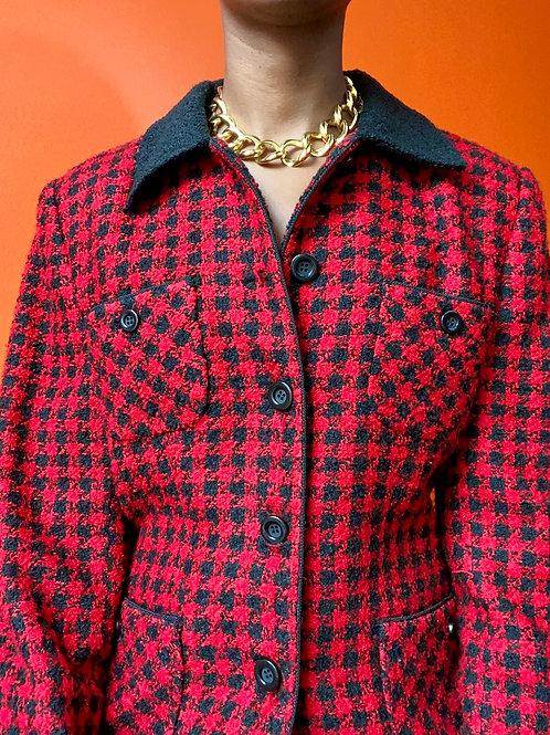 Red & Black Herringbone Jacket