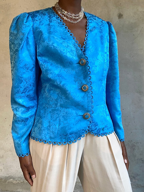 Blue Silk Floral Print Blazer