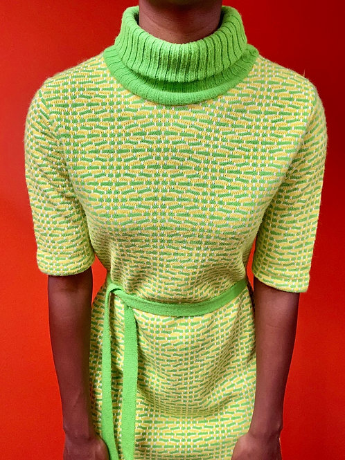 Green & Yellow Turtleneck Dress